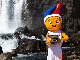 Mascot Frenkie with the EuroBasket trophy at Thingvellir National Park in Iceland